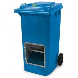 Streugutbehälter mit Entnahmeöffnung und Schließung, blau, 240 Liter, BxTxH 580 x 730 x 1075 mm