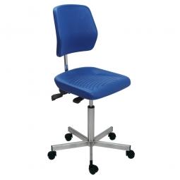Edelstahl-Arbeitsdrehstuhl auf Rollen, Sitz- u. Rückenlehne aus Polyurethanschaum, blau