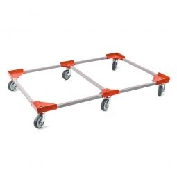 """Transportroller """"VARIO"""" für Euro-Stapelbehälter 1200 x 800 mm, grau-rot, 6 Lenkrollen, graue Gummiräder"""