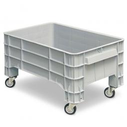 Volumenbox mit 4 Lenkrollen, 150 Liter, LxBxH 1030 x 630 x 560 mm, grau