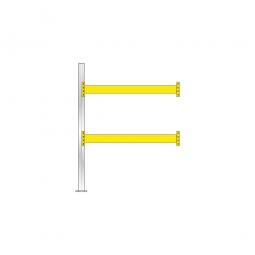 Paletten-Anbauregal für 6 Europaletten, Tragbalkenebenen mit 38 mm Spanpalttenböden, Fachlast 2200 kg/Tragbalkenpaar, BxTxH 1885 x 1110 x 2500 mm