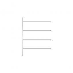 Aluminium-Anbauregal mit 4 Gitterböden, Stecksystem, BxTxH 1375 x 500 x 1800 mm, Nutztiefe 480 mm
