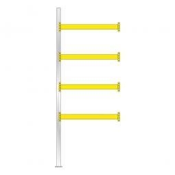 Paletten-Anbauregal für 10 Europaletten, Tragbalkenebenen mit 38 mm Spanplattenböden, Fachlast 2200 kg/Tragbalkenpaar, BxTxH 1885 x 1100 x 5000 mm