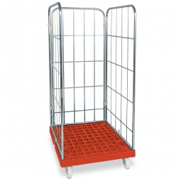 Gitterrollwagen für Eurobehälter, LxBxH 815 x 682 x 1660 mm, 3-seitig, rot