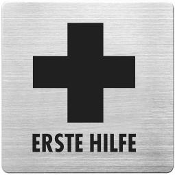 "Hinweisschild ""Erste Hilfe"", Edelstahl, HxBxT 90x90x1 mm"
