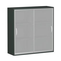 Glas-Schiebetürschrank PRO 3 Ordnerhöhen, graphit, BxHxT 1600x1152x425 mm