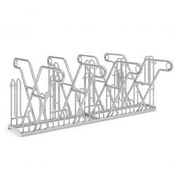 Anlehnparker, L 2160 mm, verzinkt, Einstellplatz für 8 Fahrräder, zweiseitige Nutzung