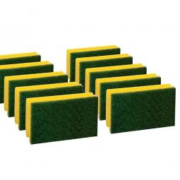 Padschwamm, gelb-grün, LxBxH 150x90x45 mm, Scheuerschwamm, stark scheuernd, Paket = 10 Schwämme