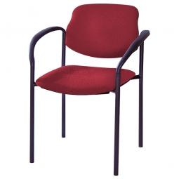 Besucherstuhl mit Armlehnen, Gestell schwarz, Polster rot, stapelbar, BxTxH 500x550x820 mm, max. Tragkraft 110 kg