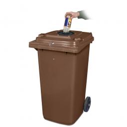 Verschließbarer Müllbehälter mit Flascheneinwurf und Gummirosette, 120 Liter, braun