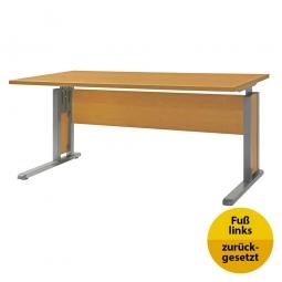 Verkettungs-Schreibtisch, Gestell silber, Platte Buche, BxTxH 1600x800x680-820 mm