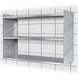 Edelstahl-Wandregal mit 3 Böden, BxTxH 1000 x 250 x 650 mm, Tragkraft 15 kg / Boden