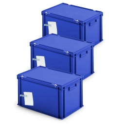 3x Ordner-Archivboxen, für je 7 Ordner (A4, breiter Rücken), inkl. Edelstahl-Zettelklemmer, staubsicher, blau