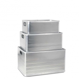 Aluminium-Kästen-Set C, je 1x 50, 79, 118 Liter
