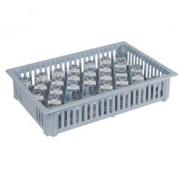 Schnapsglas-Spülkorb mit 33 Fächern, LxBxH 390x260x80 mm, grau