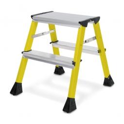 Alu-Doppel-Klapptritt, 2x 2 Stufen, gelb, Standhöhe 440 mm, max. Arbeitshöhe 2440 mm, Gewicht 1,7 kg