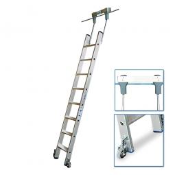 Aluminium-Stufenregalleiter, fahrbar, mit 8 Stufen, Senkrechte Einhängehöhe von 2140 bis 2370 mm