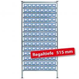 Fachbodensteck-Grundregal mit Regalkästen, HxBxT 2000x1070x515 mm
