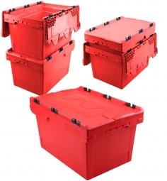 5x Universal Klappdeckelboxen, verplompbar, LxBxH 600 x 400 x 350 mm, 58 Liter, rot