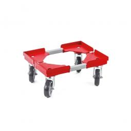 """Transportroller """"VARIO"""" für Euro-Stapelbehälter 400 x 300 mm, grau-rot, 4 Lenkrollen, graue Gummiräder"""