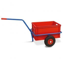 Handwagen mit Kunststoffkasten, H 320 mm, rot, LxBxH 1250 x 640 x 660 mm, Tragkraft 200 kg