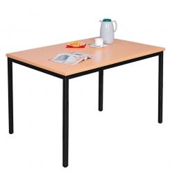 Kantinentisch Buche, BxTxH 1200 x 800 x 750 mm, Gestell schwarz, Tischplatte 25 mm stark