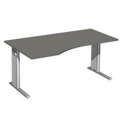 Schreibtisch PREMIUM höhenverstellbar, links, Graphit/Silber, BxTxH 1600x800/1000x680-820 mm