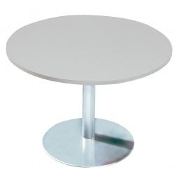 Konferenztisch mit Säulenfuß, verchromt, Platte Office-grau, Ø 800 mm, Höhe 720 mm