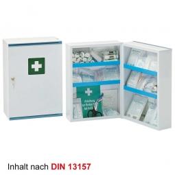Verbandschrank aus Stahlblech, perlweiß, BxTxH 320x190x450 mm, mit Inhalt nach DIN 13157