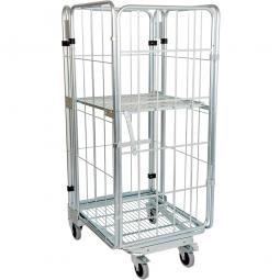Nestbarer Metall-Rollwagen 3-seitig mit 1 Tür und 1 Zwischenboden mit Federtechnik