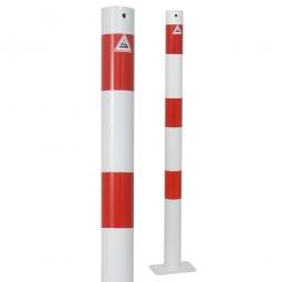 Absperrpfosten, sichtbare Höhe 900 mm, rot/weiß, Rundrohr-Ø 60 mm, feste Ausführung, mit Bodenplatte