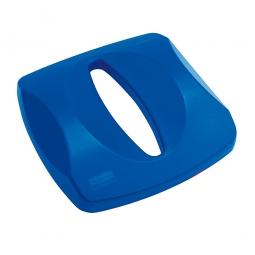 Deckel mit Papiereinwurf für Abfallbehälter, blau, Polyethylen, LxBxH 405x405x80 mm