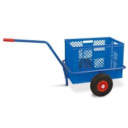 Handwagen mit Kunststoffkorb, H 410 mm, blau, LxBxH 1250 x 640 x 660 mm, Tragkraft 200 kg