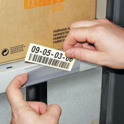 Etikettenhalter, VE = 50 Stk, selbstklebend, BxH 100x33 mm, mit 3 Bogen weißen Etiketten zum Selbstbedrucken