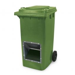 Streugutbehälter mit Entnahmeöffnung, 240 Liter, grün, BxTxH 580 x 730 x 1075 mm