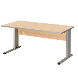 Schreibtisch mit C-Fußgestell, Farbe silber, Platte Ahorn, BxTxH 1600x800x680-820 mm