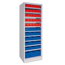 Regal mit Regalkästen rot, LxBxH 400 x 91 x 81 mm + blau, LxBxH 400 x 183 x 81 mm