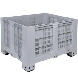 Großbox / Großbehälter mit 4 Füßen, 610 Liter, LxBxH 1200 x 1000 x 760 mm, Boden/Wände durchbrochen, grau