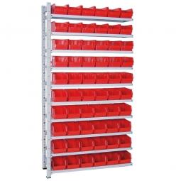Anbauregal, verzinkt, BxTxH 1035x315x2000 mm, 10 Böden, 60 Sichtboxen LB 4 Farbe rot
