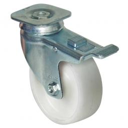 Lenkrolle für Transportroller mit Feststellbremse, Rad-ØxB 100x30 mm, Tragkraft 85kg, Rad weiß