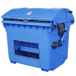 Streugutbehälter mit Entnahmeöffnung, blau, 1100 Liter, BxTxH 1365 x 1060 x 1450 mm
