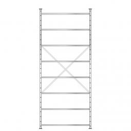 Fachbodenregal mit 8 Böden, Stecksystem, Grundregal, einseitige Ausführung, BxTxH 1270 x 315 x 3000 mm, Oberfläche glanzverzinkt