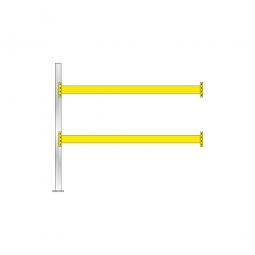 Paletten-Anbauregal für 9 Europaletten, Tragbalkenebenen mit 38 mm Spanplattenböden, Fachlast 2900 kg/Tragbalkenpaar, BxTxH 2785 x 1100 x 2500 mm