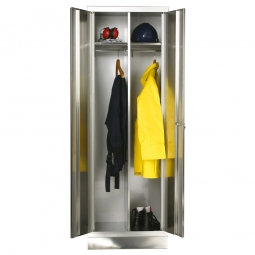 Edelstahl-Kleiderspinde, HxBxT 1800x600x500 mm, Material V2A-4301, 1 mm stark