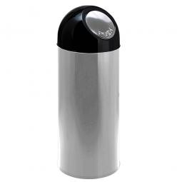 Push-Abfallbehälter, Inhalt 40 Liter, Edelstahl, HxØ 670x310 mm, Einwurföffnung Ø 160 mm
