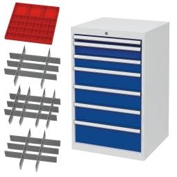 System-Schubladenschrank mit 7 Schubladen, 4 Satz Einteilungsmaterial, BxTxH 600x575x1020 mm