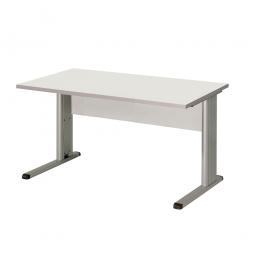 Schreibtisch mit C-Fußgestell, Farbe silber, Platte lichtgrau, BxTxH 1200x800x680-820 mm