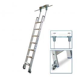 Aluminium-Stufenregalleiter, fahrbar, mit 7 Stufen, Senkrechte Einhängehöhe von 1910 bis 2130 mm