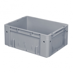 Schwerlast-Eurobehälter, geschlossen, PP, LxBxH 400x300x175 mm, 15 Liter, 2 Griffleisten, grau