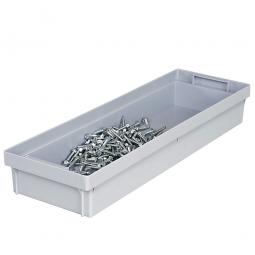 Einsatzkasten 1/2 längs für Euro-Stapelbehälter,  -Profi-, grau, Polypropylen-Kunststoff (PP)